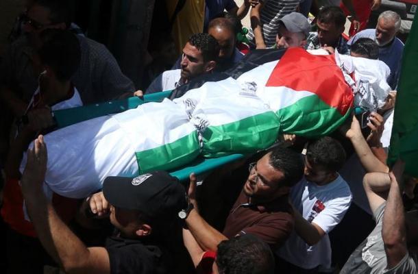 Los palestinos entierran al padre del bebé quemado vivo