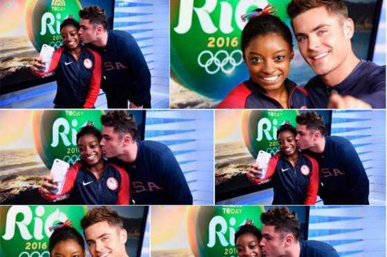 El tierno gesto de Zac Efron con la gimnasta Simone Biles