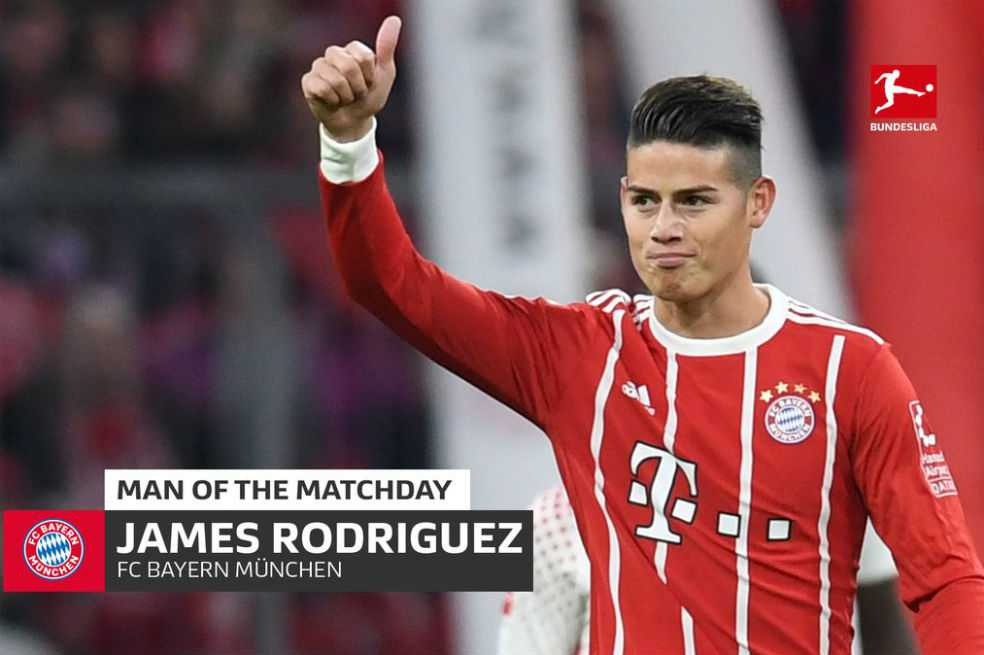 James Rodríguez fue elegido como el mejor jugador de la fecha en la Bundesliga