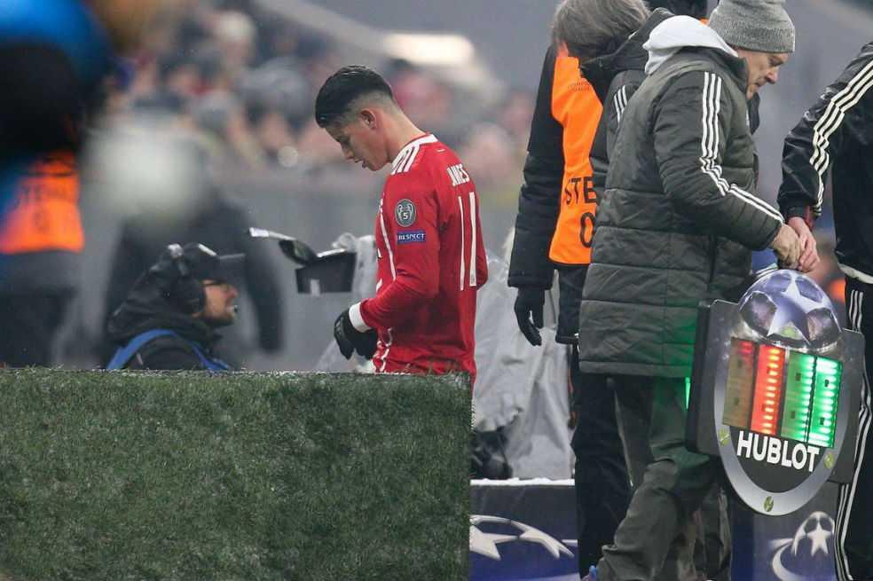 """Parte del Bayern sobre James: """"Estará ausente en los próximos entrenamientos"""""""