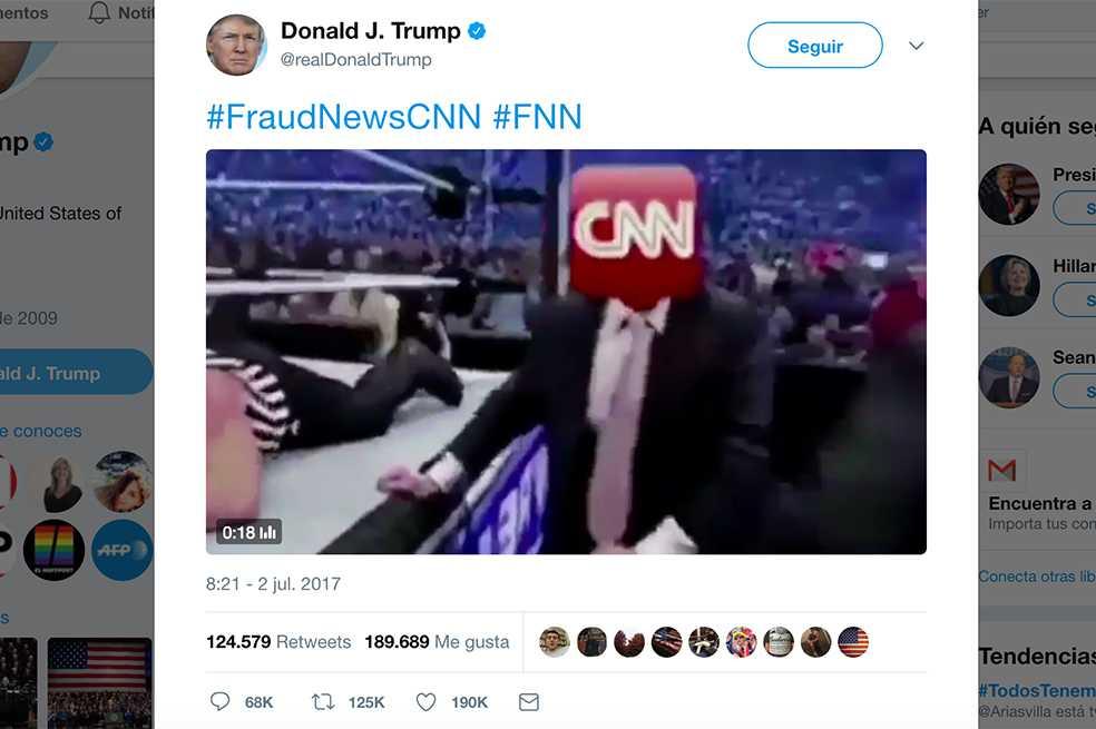 Trump tuitea video en el que golpea a hombre con logo de CNN