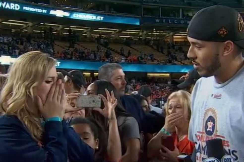 Emotiva propuesta de matrimonio de jugador de Astros tras la Serie Mundial