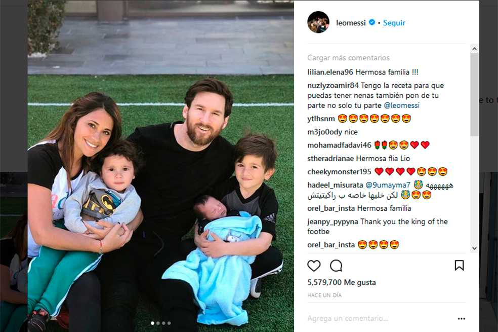 Messi muestra por primera vez la cara de su tercer hijo